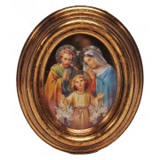 "Holy Family Gold Leaf Oval Picture cm.12.5x10.5- 5""x4 1/4"""