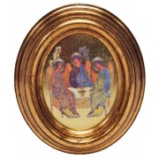 "Icon Trinity Gold Leaf Oval Picture cm.12.5x10.5- 5""x4 1/4"""