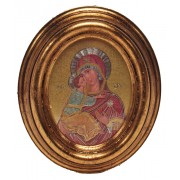 "Mother and Child Gold Leaf Oval Picture cm.12.5x10.5- 5""x4 1/4"""