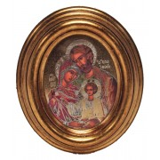 "Icon Holy Family Gold Leaf Oval Picture cm.12.5x10.5- 5""x4 1/4"""