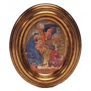 "Nativity Gold Leaf Oval Picture cm.12.5x10.5- 5""x4 1/4"""