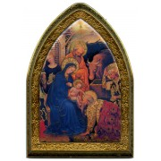 "Nativity Gold Leaf Picture Frame Mini Vault cm.18.5x13.5 - 7 1/4""x5 1/4"""