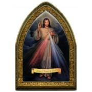 "English Divine Mercy Gold Leaf Picture Frame Mini Vault cm.18.5x13.5 - 7 1/4""x5 1/4"""