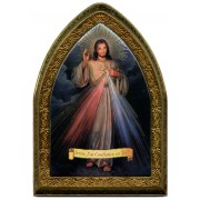 "French Divine Mercy Gold Leaf Picture Frame Mini Vault cm.18.5x13.5 - 7 1/4""x5 1/4"""