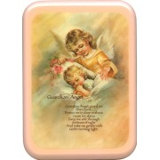 "Pink Frame Guardian Angel Prayer Plaque cm. 21x29- 8 1/2""x 11 1/2"""