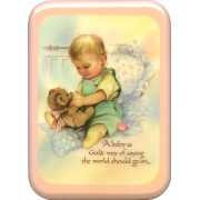 "Pink Frame Baby is God's Way Plaque cm. 21x29- 8 1/2""x 11 1/2"""