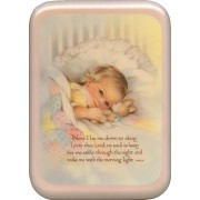 "Pink Frame Now I Lay Me Down Prayer Plaque cm. 21x29- 8 1/2""x 11 1/2"""