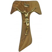 Olive Wood Crucifix Gold Plated Corpus cm.12- 4 3/4""