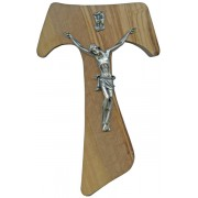 Olive Wood Crucifix Silver Plated Corpus cm.17- 6 3/4""