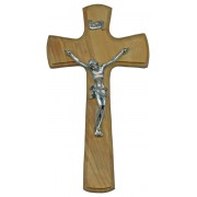 Olive Wood Crucifix Silver Plated Corpus cm.14- 5 1/2""