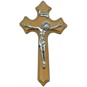 Olive Wood Crucifix Silver Plated Corpus cm.10- 4""