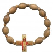 Elastic Olive Wood Bracelet with Sacred Heart of Jesus mm.8