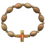 Elastic Olive Wood Bracelet with Sacred Heart of Jesus mm.10