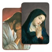 "Jesus and Our Lady Praying 3D Bi-Dimensional Cards cm.5.5x8.2- 2 1/8""x 3 1/4"""