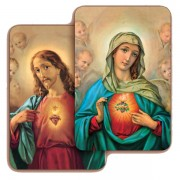 "Sacred Heart of Jesus/ Immaculate Heart of Mary 3D Bi-Dimensional Cards cm.5.5x8.2- 2 1/8""x 3 1/4"""