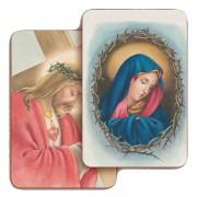 """Gesu' Nazzareno/ Addolorata 3D Bi-Dimensional Cards cm.5.5x8.2- 2 1/8""""x 3 1/4"""""""