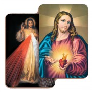 "Sacred Heart of Jesus/ Divine Mercy 3D Bi-Dimensional Cards cm.5.5x8.2- 2 1/8""x 3 1/4"""
