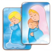 "Hail Mary/ Guardian Angel 3D Bi-Dimensional Cards cm.5.5x8.2- 2 1/8""x 3 1/4"""