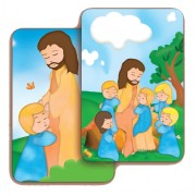 "Jesus with Children 3D Bi-Dimensional Cards cm.5.5x8.2- 2 1/8""x 3 1/4"""