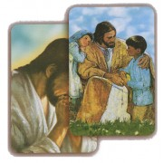 "Jesus Praying with Children 3D Bi-Dimensional Cards cm.5.5x8.2- 2 1/8""x 3 1/4"""