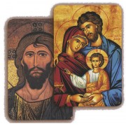 "Pantocrator/ Holy Family 3D Bi-Dimensional Cards cm.5.5x8.2- 2 1/8""x 3 1/4"""