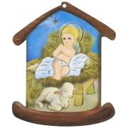 "Nativity House Plaque- Christmas Tree Ornament cm.10.5x12.5- 4""x5"""