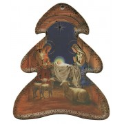 "Nativity Wood Tree Plaque- Christmas Tree Ornament cm.10x9 - 4""x 3 1/2"""