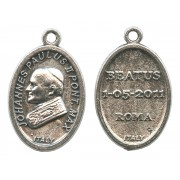 Pope John Paul II Oval Oxidized Medal mm.22- 7/8""