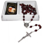 Pope John Paul II Wood Rosary mm.7x8 Simple Link Brown (1555-01)