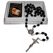 Pope John Paul II Wood Rosary mm.7x8 Simple Link Black (1555-01)