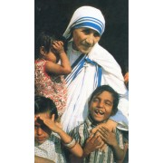 "Holy card of the Mother Theresa and children cm.7x12- 2 3/4""x 4 3/4"""