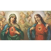 """Holy card of the Sacred Heart of Jesus and the Immaculate Heart of Mary cm.7x12- 2 3/4""""x 4 3/4"""""""
