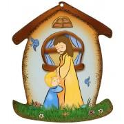"""Placa con forma de casa con Jesús y el Niño cm.10.5x12.5- 4 """"x5"""""""