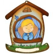 """Placa con forma de casa con un niño cm.10.5x12.5- 4 """"x5"""""""