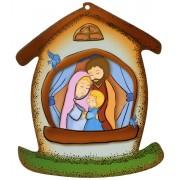 """La plaque en forme de maison avec la Sainte Famille cm.10.5x12.5- 4 """"x5"""""""