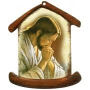 """Placa con forma de casa con Jesús Orando cm.10.5x12.5- 4 """"x5"""""""