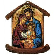 "Placa con forma de casa con la familia Icono Santo cm.10.5x12.5- 4 ""x5"""