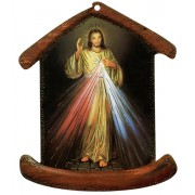 "Divine Mercy House Shaped Plaque cm.10.5x12.5 -4""x5"""