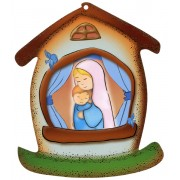 "Mother and Child House Shaped Plaque cm.10.5x12.5- 4""x5"""