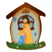 "Jesus with Child House Shaped Magnet cm.5.5x6.6- 2 1/4""x 2 5/8"""