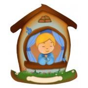 "Imán con forma de casa con un niño cm.5.5x6.6 - 2 1/4 ""x 2 5/8"""