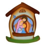 """Aimant en forme de maison avec la sainte famille cm.5.5x6.6 - 2 1/4 """"x 2 5/8"""""""