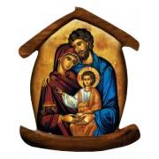 """Aimant en forme de maison avec l'icône sainte famille cm.5.5x6.6 - 2 1/4 """"x 2 5/8"""""""