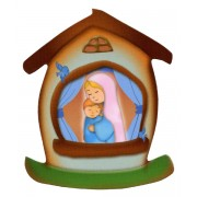 """Mother and Child House Shaped Magnet cm.5.5x6.6 - 2 1/4"""" x 2 5/8"""""""