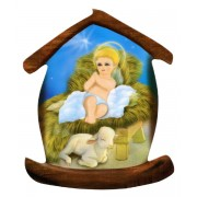 "Baby Jesus House Shaped Magnet cm.5.5x6.6- 2 1/4"" x 2 5/8"""