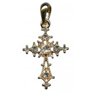 Gold Plated Cross Pendant with Clear Crystals cm.3 - 1 1/8""