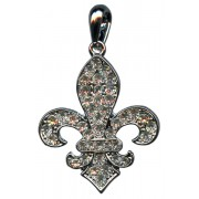 Silver Plated Fleur de Lis Pendant with Clear Crystals cm.3.3- 1 1/4""