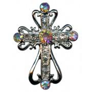 """Épinglette d'une croix en argent plaqué avec cristaux clairs cm.2.5x3.5- 1 """"x1 3/8"""""""