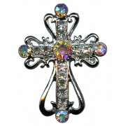 "Silver Plated Cross Lapel Pin with Clear Crystals cm.2.5x3.5-1""-1 3/8"""
