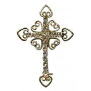 """Épinglette d'une croix d'or plaqué avec cristaux clairs cm.3x4.5- 1 1/8 """"x 1 3/4"""""""